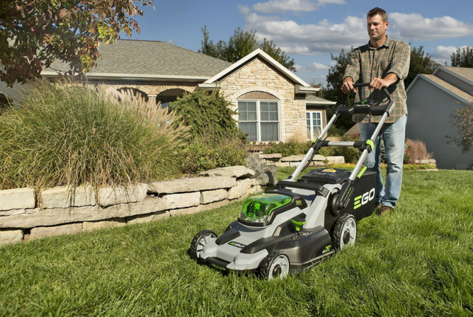 EGO Power+ 20-Inch 56-Volt Lithium-ion Cordless Lawn Mower in use
