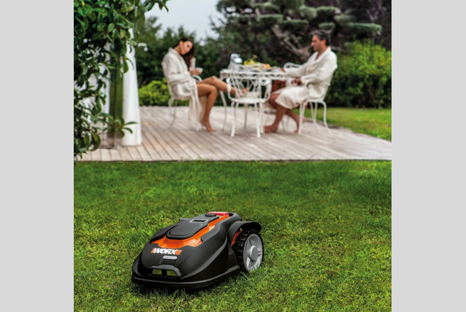 WORX WG794 28-volt Landroid Robotic Lawn Mower in use