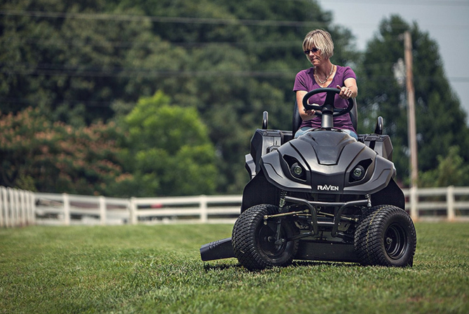 Raven Mpv7100 Series Hybrid Riding Lawnmower Generator And Utility Vehicle In Use