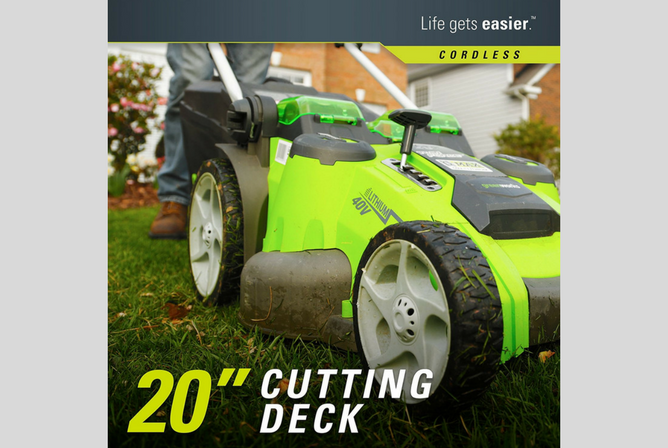 GreenWorks 25302 G-MAX 40V Twin Force 20-Inch Cordless Lawn Mower Cutting Deck