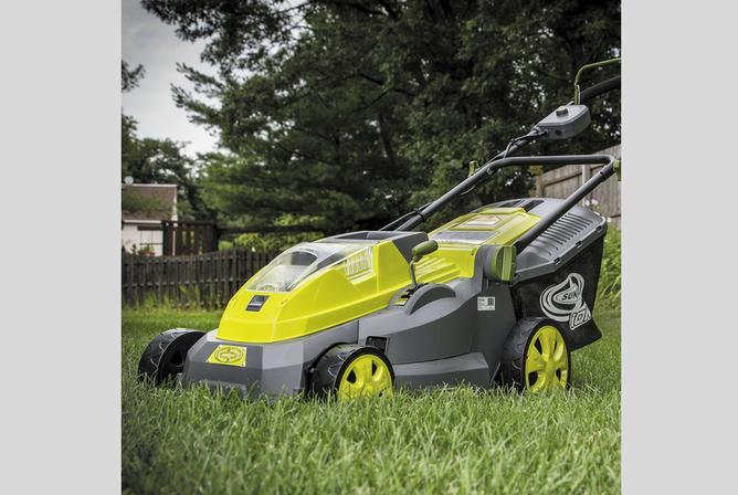 "Sun Joe iON16LM 40 V 16"" Cordless Lawn Mower in use"