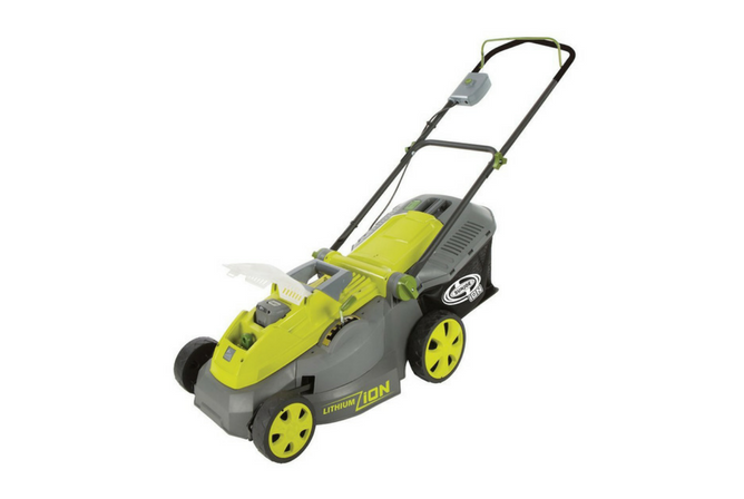 "Sun Joe iON16LM 40 V 16"" Cordless Lawn Mower full view"