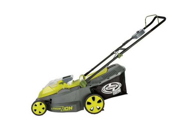 "Sun Joe iON16LM 40 V 16"" Cordless Lawn Mower side view"