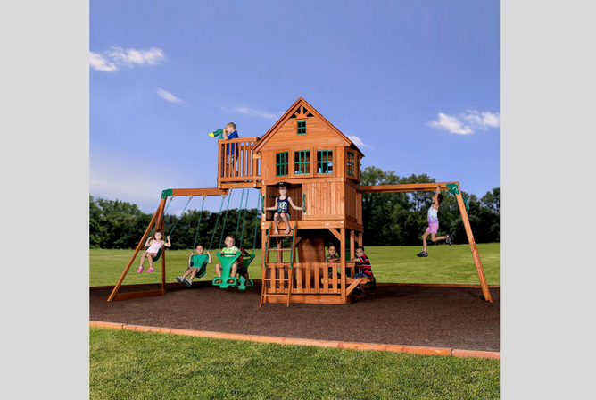 Backyard Discovery Skyfort II All Cedar Wood Swing Set front view