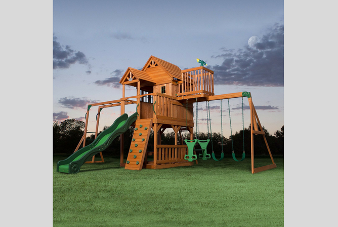 Backyard Discovery Skyfort Ii All Cedar Wood Swing Set Review