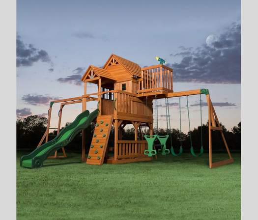 Backyard Discovery Skyfort II All Cedar Wood Swing Set full view
