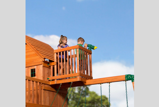 Backyard Discovery Skyfort II All Cedar Wood Swing Set lookout
