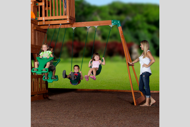 Backyard Discovery Skyfort II All Cedar Wood Swing Set swings