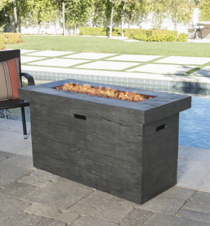 Crawford Outdoor Grey Rectangular Fire Pit