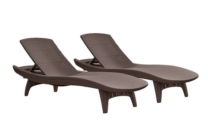 Keter Pacific 2-Pack All-weather Adjustable Outdoor Patio Chaise Lounge Furniture