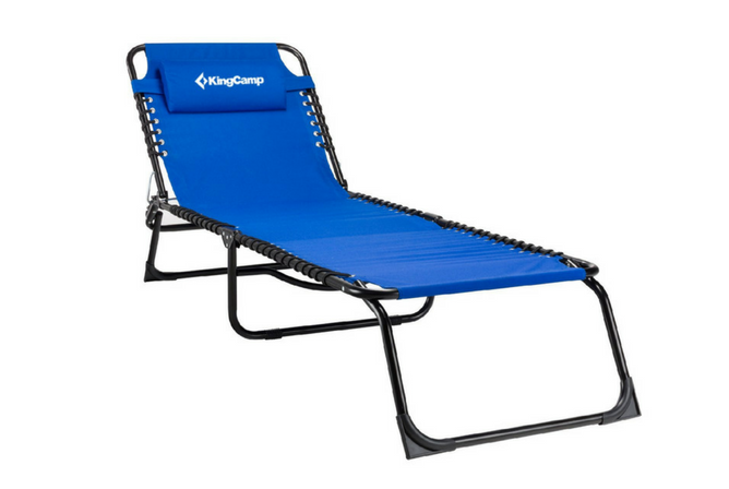 Kingcamp Tri Folding Patio Lounge Chair Portable Folding Chaise Bed for Outdoor Indoor Furniture Home Garden Yard Pool Beach Camping Cot with Removable Pillow