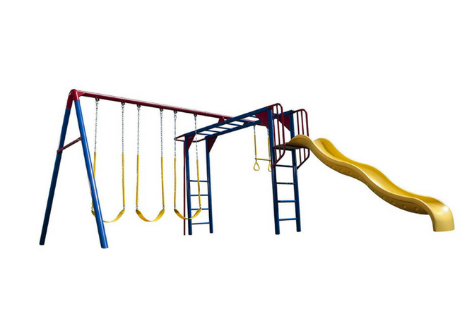 Lifetime Monkey Bar Adventure Swing Set with 9 Foot Wavy Slide full view