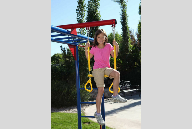 Lifetime Monkey Bar Adventure Swing Set with 9 Foot Wavy Slide ropes