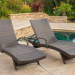 (Set of 2) Olivia Outdoor Brown Wicker Armed Chaise Lounge Chairs