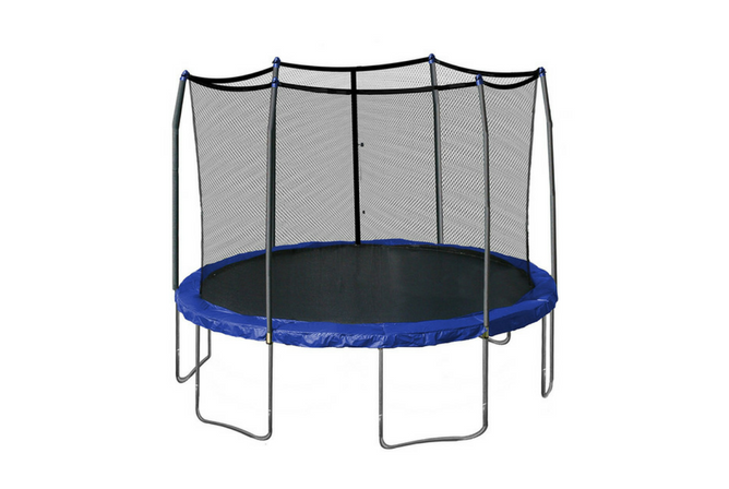 Skywalker Trampolines 12-Feet Round Trampoline and Enclosure with Spring Pad full view