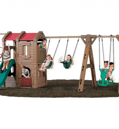 Step2 Naturally Playful Adventure Lodge Play Center Swing Set with Glider full view