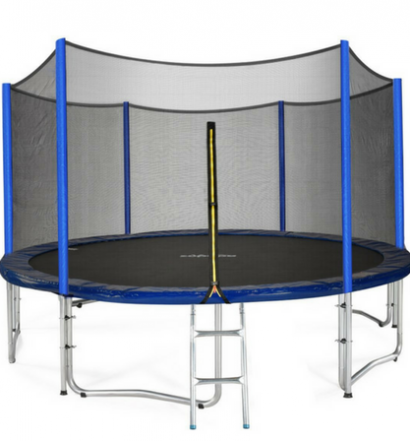 Zupapa TUV Approved Trampoline with Enclosure Net and Poles plus Safety Pad Ladder Jumping Mat and Rain Cover full view