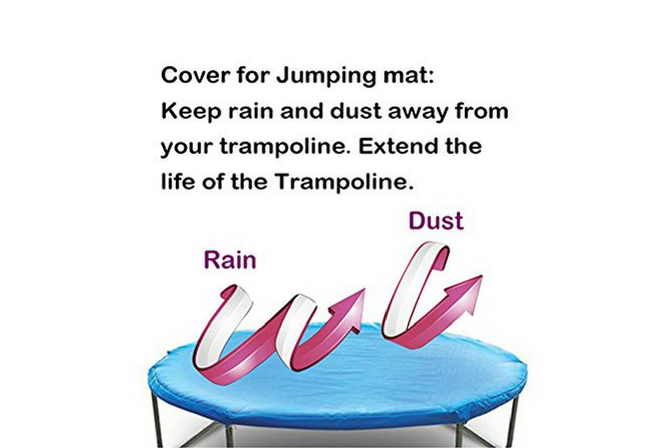 Zupapa TUV Approved Trampoline with Enclosure Net and Poles plus Safety Pad Ladder Jumping Mat and Rain Cover rain cover