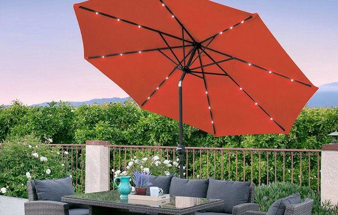 Best Choice Products 10ft Deluxe Patio Umbrella wSolar LED Lights, Tilt Adjustment