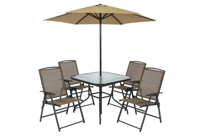 Best Choice Products 6pc Outdoor Folding Patio Dining Set W Table, 4 Chairs, Umbrella and Built-In Base