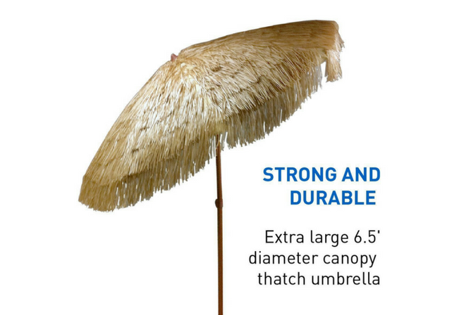 EasyGo - Thatch Patio Tiki Umbrella - Tropical Palapa Raffia Tiki Hut Hawaiian Hula Beach Umbrella