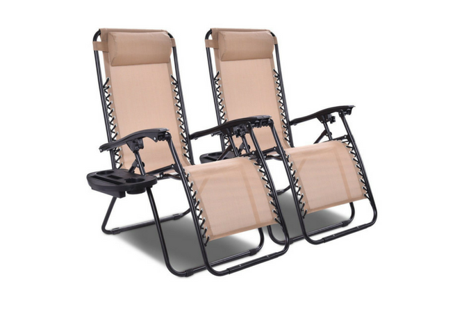 Giantex 2 PCS Zero Gravity Chair Patio Chaise Lounge Chairs Outdoor Yard Pool Recliner Folding Lounge Chair with Cup Holder