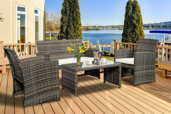 Goplus 4 PC Rattan Patio Furniture Set Garden Lawn Sofa Cushioned Seat Wicker