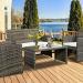 Goplus 4 PC Rattan Patio Furniture Set Garden Lawn Sofa Cushioned Seat Wicker