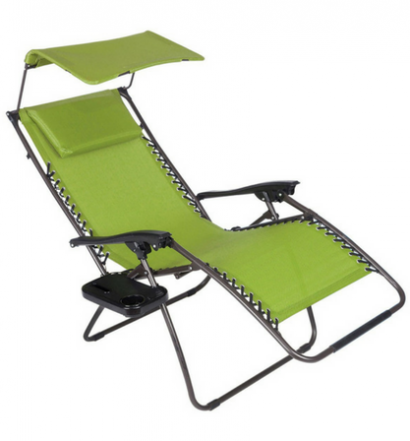 Just Relax Oversized Zero Gravity Chair with Pillow, Canopy, and Clip-On Table