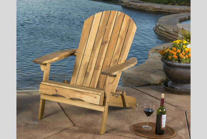 Great Deal Furniture Denise Austin Home Milan Outdoor Folding Wood Adirondack Chair